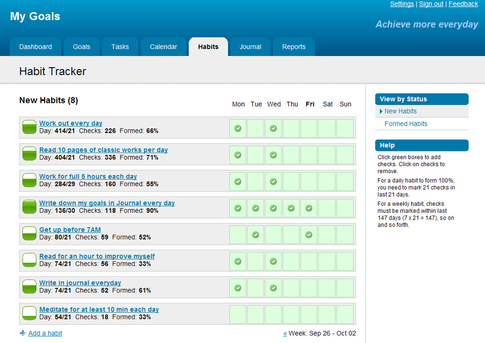 Goalsontrack Web Based Goal Setting Software For High Achievers